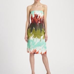 Milly of New York Watercolor Strapless Linen Dress